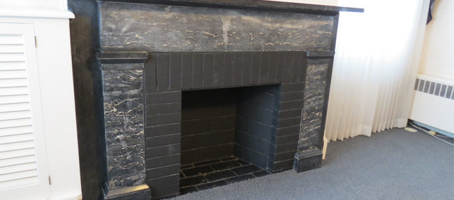 BEFORE: A closer look at the fireplace