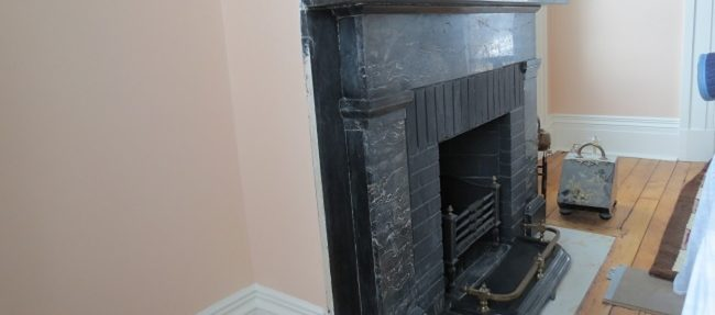 IN PROGRESS: A closer look at the fireplace.